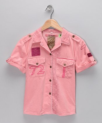 Candy Pink Corduroy Button-Up - Girls