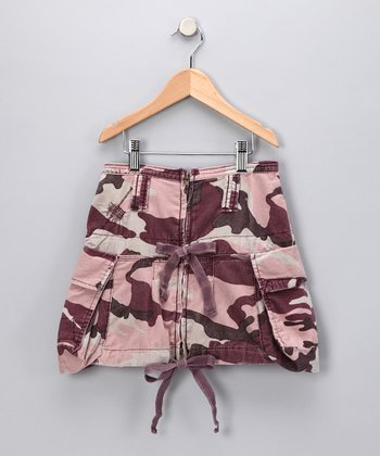 Eggplant Camouflage Double Bow Skirt - Girls
