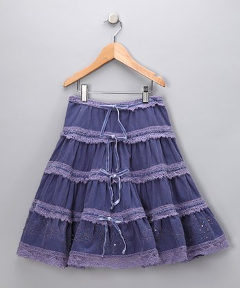 Sea Blue Tiered Skirt - Girls