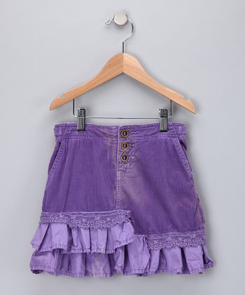 Violet Corduroy Tiered Corduroy Trumpet Skirt - Girls