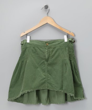 Avocado Frayed Hi-Low Skirt - Girls