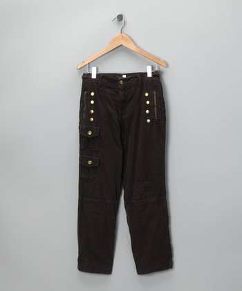 Coffee Brass Stud Pants - Girls