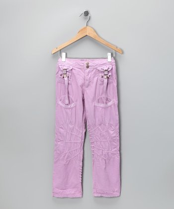 Plum Straigh-Leg Pocket Pants - Girls