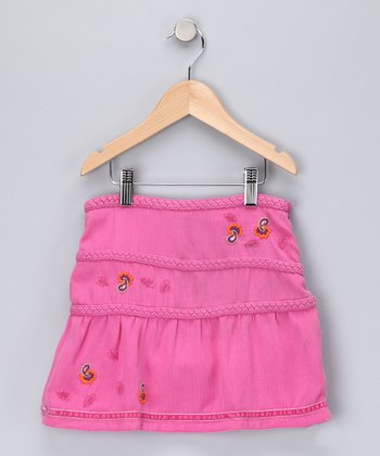 Mulberry Paisley Braid Silk-Blend Skirt - Girls