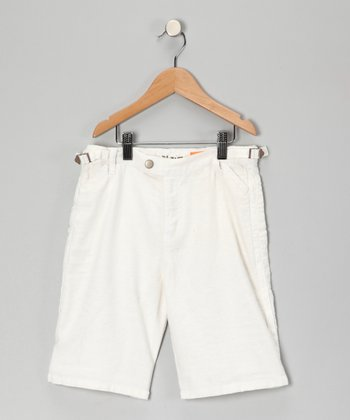 White Button Linen-Blend Shorts