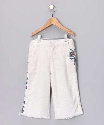 White Floral Crop Pants - Girls