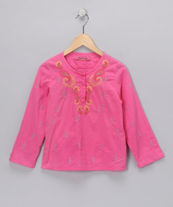 Pink Paisley Embroidered Top