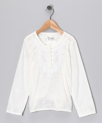 White Embroidered Paisley Top - Girls