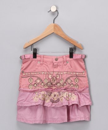 Mauve Embroidered Ruffle Skirt