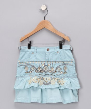Seafoam Embroidered Ruffle Skirt