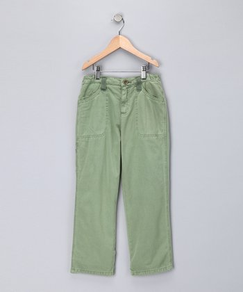Green Twill Pants - Girls