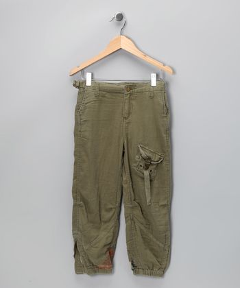 Olive Twill Parachute Pants - Girls