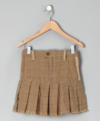 Brown Plaid Pleated Skirt - Girls
