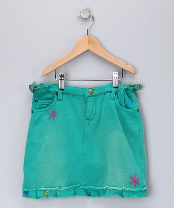 Teal Rivet Skirt - Girls