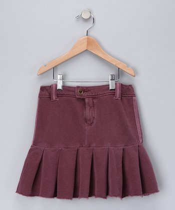 Eggplant Pleated Skirt - Girls