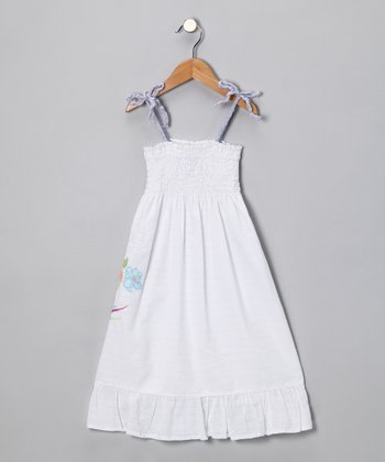 Optical White Embroidered Sundress
