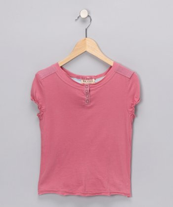 Mauve Puff-Sleeve Henley - Girls