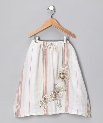Beige Stripe Linen Skirt