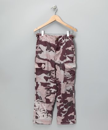 Eggplant Embroidered Camo Cargo Pants - Girls