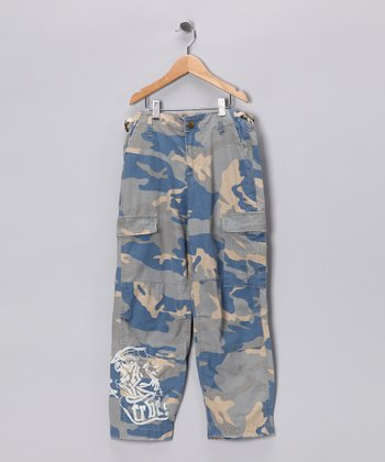 Blue Embroidered Camouflage Cargo Pants