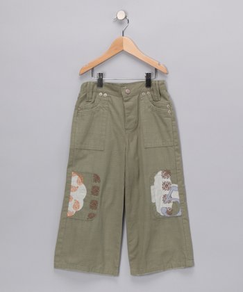 Moss Green Crop Pants - Girls