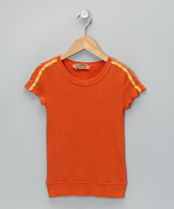 Tangerine Silk Cap-Sleeve Tee - Girls