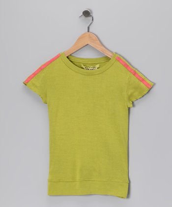 Lime Butterfly Silk Top - Girls