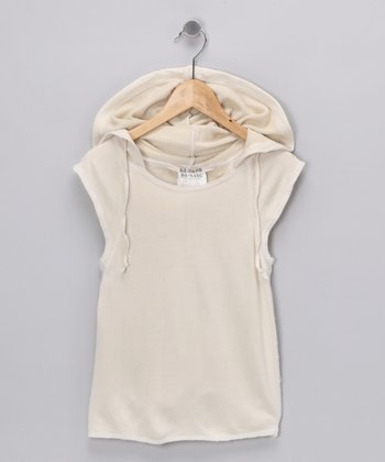Beige Silk Hooded Tank