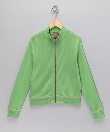 Green Zip-Up Jacket - Girls