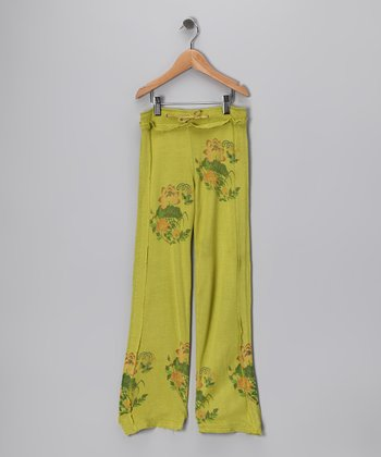 Lime Flower Silk Pants - Girls