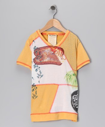 Mustard Patchwork Tee - Girls