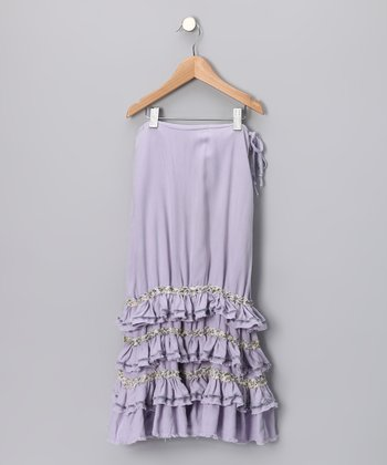 Wisteria Tiered Ruffle Silk Skirt - Girls