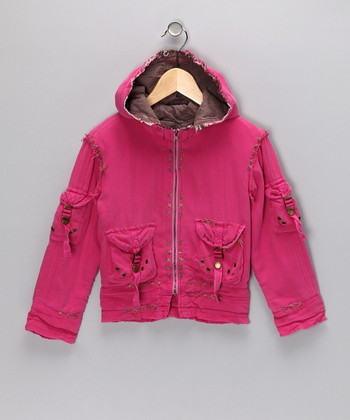 Fuchsia Silk Zip-Up Hoodie - Girls