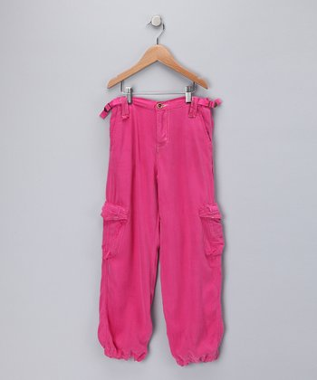 Fuchsia Silk Cargo Pants - Girls