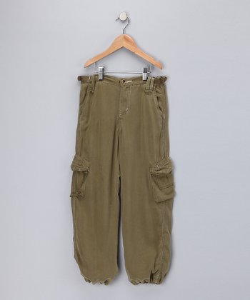 Olive Green Silk Pants - Girls
