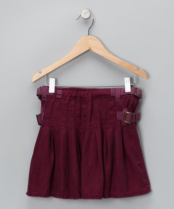 Eggplant Buckle Silk Skirt - Girls
