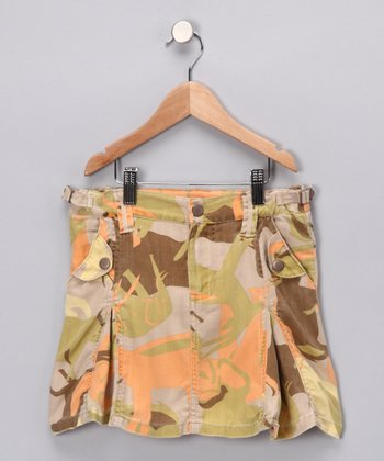 Green Camo Forest Silk Skirt
