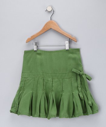 Avocado Silk Pleated Skirt - Girls
