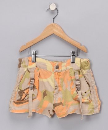 Khaki Forest Camo Silk Shorts