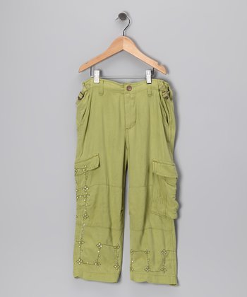 Moss Sequin Flower Silk Crop Cargo Pants - Girls
