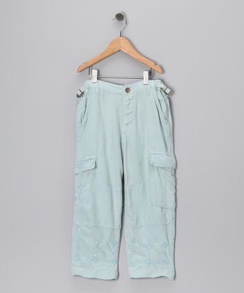Seafoam Silk Cargo Pants - Girls