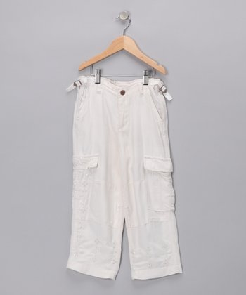 White Silk Cargo Pants