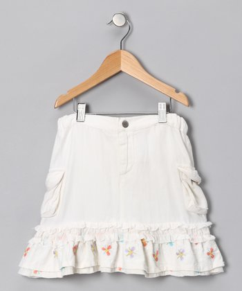 White Floral Silk Ruffle Skirt