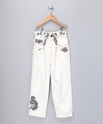 Birch Hibiscus Embroidered Silk-Blend Pants - Girls
