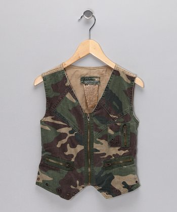 Green Camo Vest - Girls