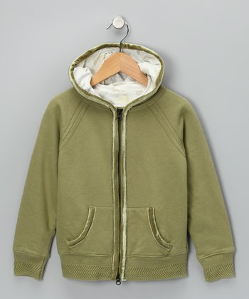 Sage Green Zip-Up Hoodie - Girls