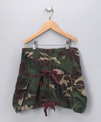 Green Camouflage Cargo Skirt - Girls