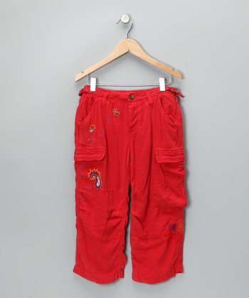 Cherry Paisley Silk-Blend Cargo Pants - Girls