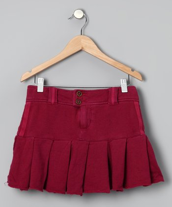 Magenta Pleated Skirt - Girls