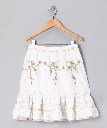 White Stripe Eyelet Skirt - Girls